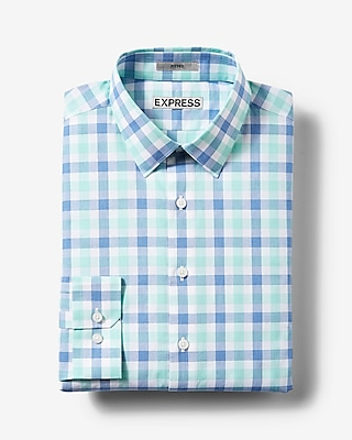 Express Mens Fitted Plaid Cotton Dress Shirt Green Small