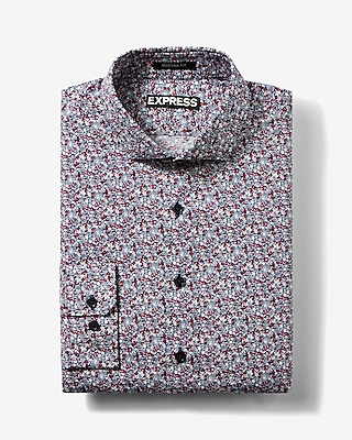 Express Mens Slim Floral Print Cotton Dress Shirt