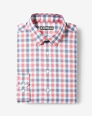 Express Mens Classic Fit Plaid Cotton Dress Shirt
