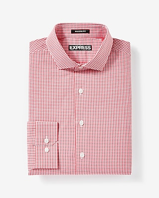 Express Mens Modern Fit Check Cotton Dress Shirt