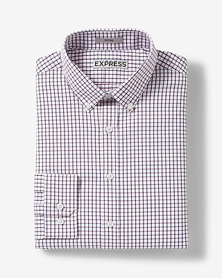 Express Mens Fitted Plaid Performance Dress Shirt Blue XX Large