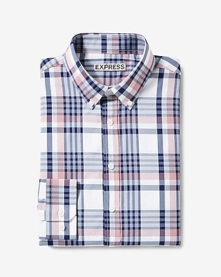 Fitted Plaid Performance Dress Shirt