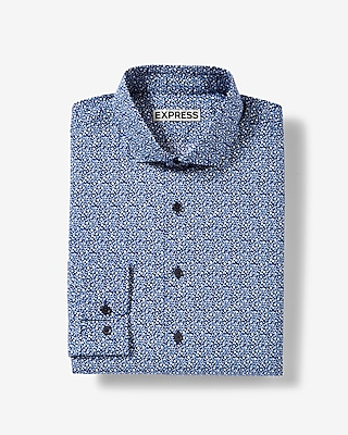 Express Mens Slim Fit Floral Vine Cotton Dress Shirt
