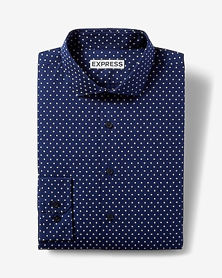 Express Mens Classic Fit Dot Cotton Dress Shirt