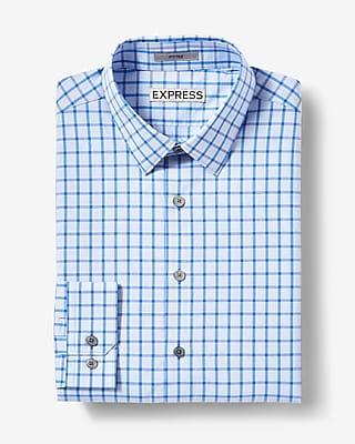 Fitted Plaid Stripe Cotton Dress Shirt