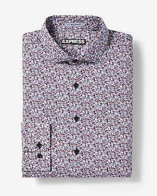 Express Mens Extra Slim Fit Floral Print Dress Shirt