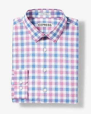 Express Mens Extra Slim Fit Plaid Cotton Dress Shirt Pink Small