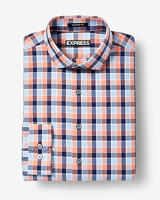 Express Mens Classic Fit Plaid Dress Shirt Orange X Small