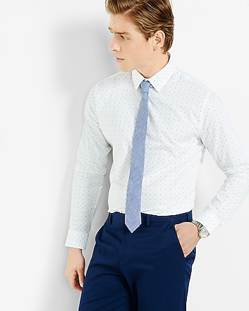 fitted open dot print dress shirt