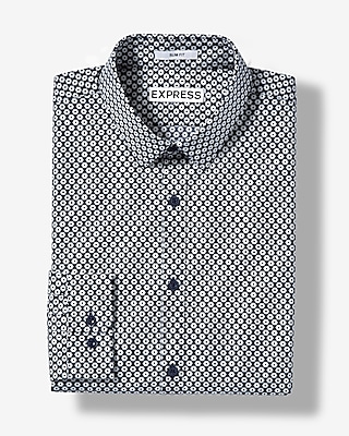 Slim Fit Geometric Dot Cotton Dress Shirt