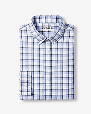 Express Mens Slim Plaid Performance Dress Shirt