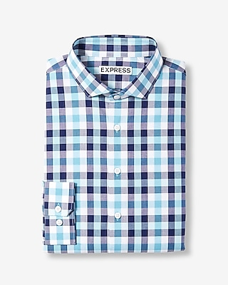 Slim Fit Plaid Spread Collar Dress Shirt