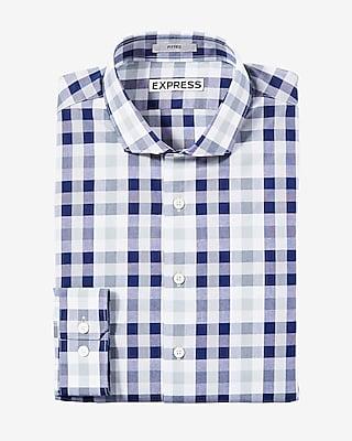 Slim Fit Plaid Spread Collar Dress Shirt