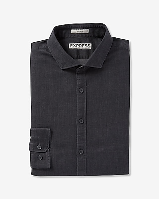 Express Mens Fitted Chambray Dress Shirt