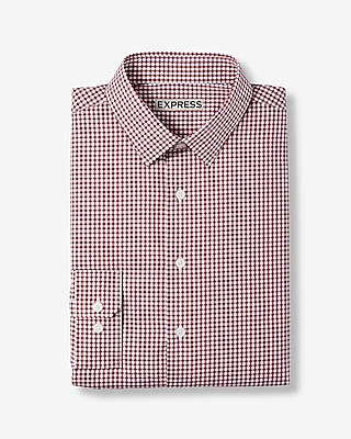 Express Mens Slim Micro Check Print Cotton Dress Shirt