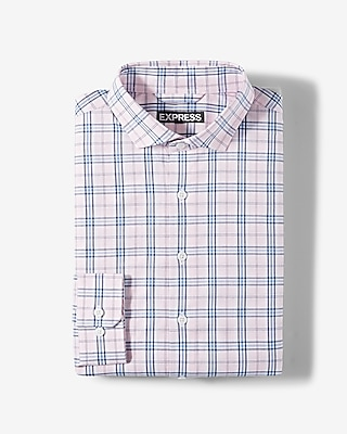 Express Mens Classic Plaid Cotton Dress Shirt