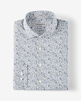 Express Mens Slim Printed Cotton Dress Shirt