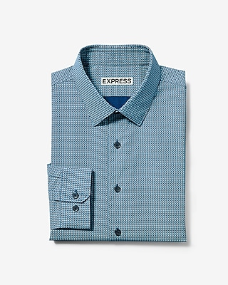 Express Mens Slim Fit Small Dot Cotton Dress Shirt