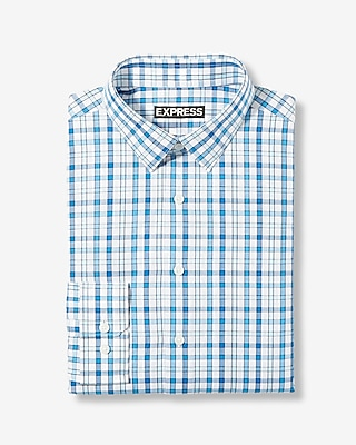 Express Mens Classic Fit Multicolor Plaid Dress Shirt