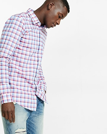 slim fit plaid dress shirt