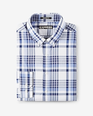 Express Mens Modern Fit Plaid Performance Dress Shirt