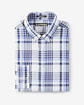 Express Mens Modern Fit Plaid Performance Dress Shirt