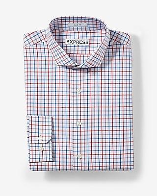 Slim Fit Plaid Cotton Dress Shirt