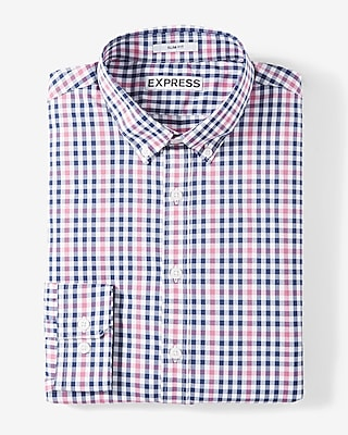 Express Mens Extra Slim Fit Plaid Performance Dress Shirt