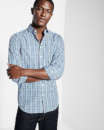 fitted checked dress shirt