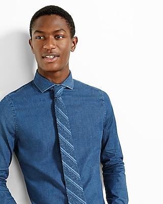 Express Mens Slim Fit Stretch Dark Wash Denim Dress Shirt Blue Small