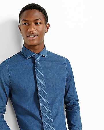 slim fit stretch dark wash denim dress shirt