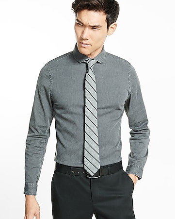 slim fit stretch gray wash denim dress shirt