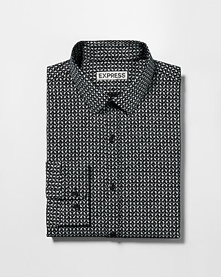 Express Mens Slim Micro Print Dress Shirt