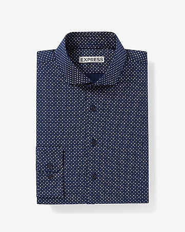 fitted dot print dress shirt