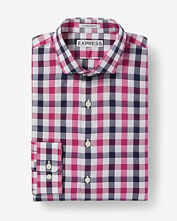 extra slim small check dress shirt