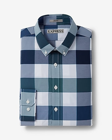 fitted express tech easy care large check shirt