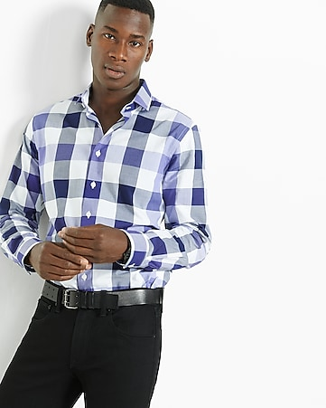 fitted check dress shirt