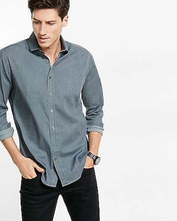fitted stretch gray wash denim dress shirt