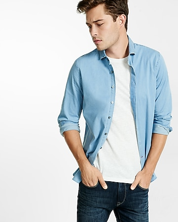 fitted stretch light wash denim dress shirt