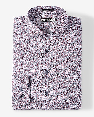 Express Mens Classic Fit Small Floral Dress Shirt