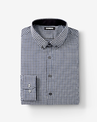 Express Mens Extra Slim Fit Plaid Performance Shirt