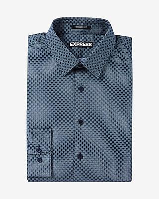 Express Mens Modern Fit Micro Print Dress Shirt Blue Small