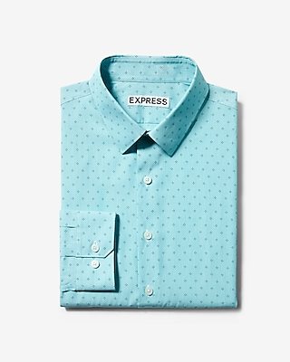 Express Mens Extra Slim Fit Diamond Dress Shirt Blue X Small