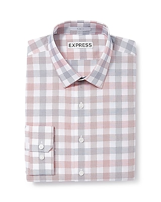 Express Mens Extra Slim Fit Plaid Dress Shirt