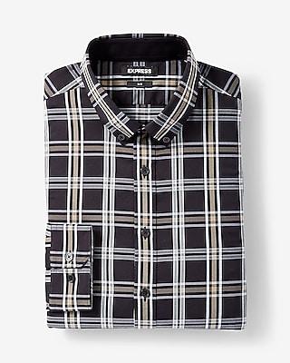 Express Mens Extra Slim Plaid Performance Shirt Black Men's Xs Black Xs