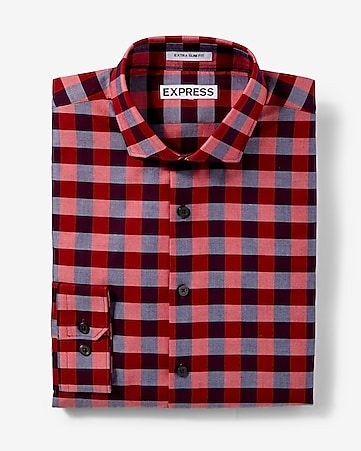 slim fit checked dress shirt