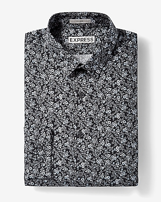 Express Mens Slim Fit Floral Print Cotton Dress Shirt