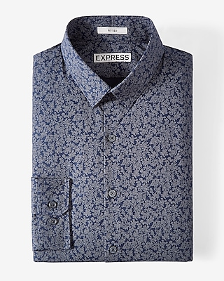 Express Mens Slim Fit Floral Print Dress Shirt