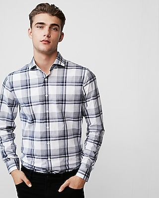 Express Mens Extra Slim Plaid Cotton Dress Shirt
