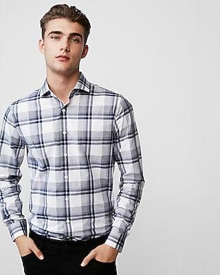 Express Mens Extra Slim Plaid Cotton Dress Shirt